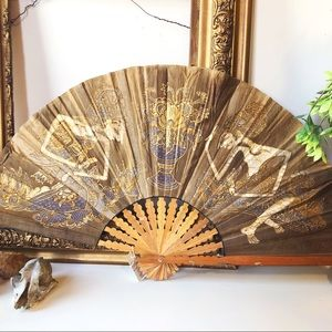 Vintage, hand dyed East Asian cloth fan